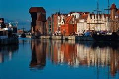 Sunrise on the Motlawa river. Gdansk Stock Images