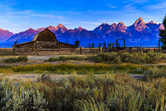 Sunrise at Moulton Barn Jackson Hole Stock Photos
