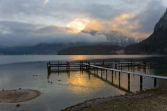 Sunrise by mounatin lake Stock Images