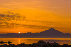 Sunrise at Mount Athos. View from Sarti on the Holy Mountain Athos, Greece Stock Photography