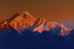 Sunrise on Mount Kanchenjugha, at Dawn, Sikkim Stock Photo