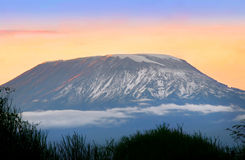 Sunrise on mount Kilimanjaro. Kenya. Amboseli national park Stock Photography