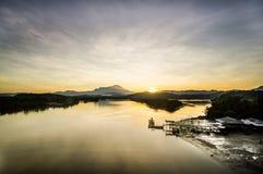 Sunrise beside Mount Kinabalu royalty free stock images