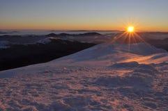 Sunrise on Mount Pop Ivan on the Montenegrin ridge. Winter hiking in the Montenegrin ridge 2017 Morning landscape stock images