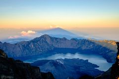 Sunrise at Mount Rinjani, Lombok, Indonesia stock photo