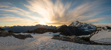 Sunrise at Mount Shuksan. Panorama of mountains in the North Cascades Stock Photography