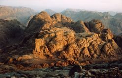 Sunrise at Mount Sinai, Egypt Stock Photos