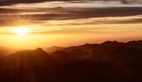 Sunrise on Mount Sinai. A sunrise on the Mount Sinai in Egypt stock images