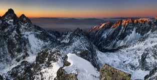 Sunrise in Mountain. Sunrise in the High Tatras from the top Rysy in Slovakia Europe - Slovakia - High Tatras - Rysy panorama view royalty free stock images