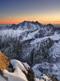 Sunrise in mountain. In winter royalty free stock photography