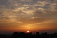 Sunrise. On the mountain with birds Stock Photo
