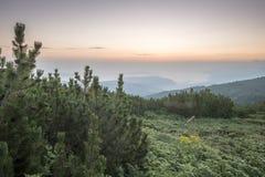 Sunrise in the mountain. Bulgaria, Rila mountain Royalty Free Stock Photos