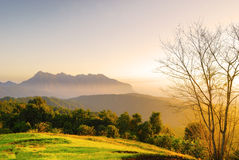 Sunrise mountain in Chiang Mai Thailand Royalty Free Stock Images