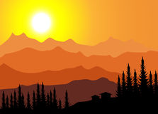 Sunrise on Mountain. Is a  illustration Stock Photography