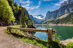 Sunrise at mountain lake in Gosau in spring, Alps, Europe. Sunrise at mountain lake in Gosau in spring, Alps Royalty Free Stock Images