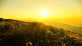 Sunrise in mountain. Stock Images