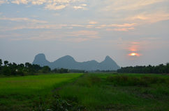 Sunrise at Mountain name Khao Oktalu in Phatthalung Thailand Royalty Free Stock Images