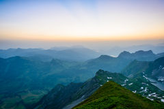 Sunrise mountain panorama Stock Photo