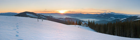 Sunrise mountain panorama Stock Photography