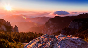 Sunrise on the mountain peak Ceahlau Royalty Free Stock Images
