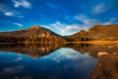 Sunrise Mountain Reflection. Sunrise reflection of the mountains at Dillon Reservoir, CO Stock Images