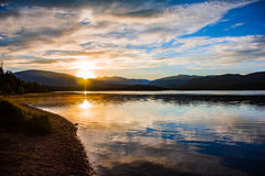 Sunrise Mountain Reflection. Sunrise over the mountains at Dillon Reservoir, CO Stock Photos