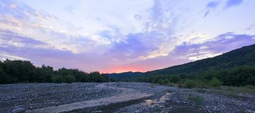 Sunrise on mountain river Royalty Free Stock Photo