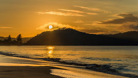 Sunrise Mountain Seascape. Taken at Umina Beach, Central Coast, NSW, Australia Royalty Free Stock Image