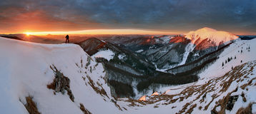 Sunrise in mountain - Slovakia Fatra Stock Images