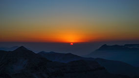 Sunrise. On mountain top Royalty Free Stock Images