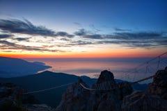 Sunrise from mountain top Ai-Petri Royalty Free Stock Image