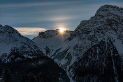 Sunrise mountain view during winter royalty free stock photography