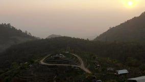 Sunrise at mountain village stock video