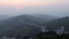 Sunrise mountain village stock footage