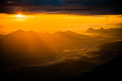 Sunrise on Mountain of yellow Royalty Free Stock Photography