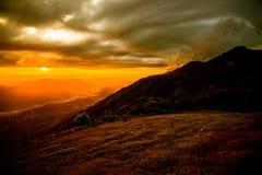 Sunrise on Mountain of yellow Royalty Free Stock Photo