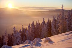 Sunrise in mountains. View from Skrzyczne mountain (1257 meters high) in Poland Stock Photography