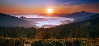 Sunrise in the Mountains Royalty Free Stock Images