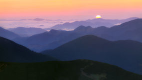 Sunrise in the mountains Royalty Free Stock Image