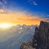 Sunrise in a mountains Stock Images