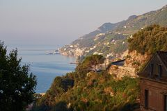 Sunrise in Amalfi coast Stock Photos