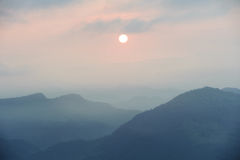Sunrise and the mountains Royalty Free Stock Photo