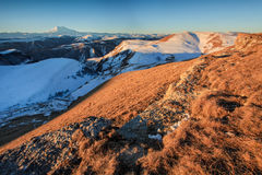 Sunrise in the mountains Elbrus, Northern Caucasus, Russia Stock Image