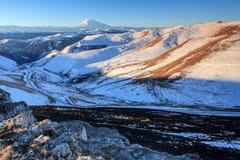 Sunrise in the mountains Elbrus, Northern Caucasus, Russia Stock Photos