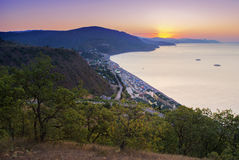 Sunrise in mountains. An erly morning in the mountains on the coast Stock Image