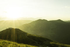 Sunrise in the mountains. Sunrise from Hohe Penhab, Hinterglemm Austria Royalty Free Stock Image