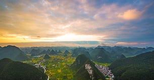 Sunrise mountains Hongxia fly Stock Photos