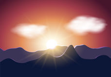 Sunrise mountains illustration Royalty Free Stock Photo