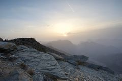 Sunset in the Omani mountains. Sunrise in the mountains in the Kingdom of Oman. Location Al Jebal Akhdar Stock Photography