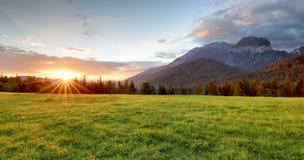 Sunrise in mountains landscape, Slovakia, Tatranska Javorina Royalty Free Stock Images